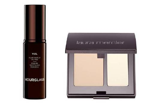 Тональный флюид Veil Fluid Makeup, Hourglass и консилер Secret Camouflage, Laura Mercier