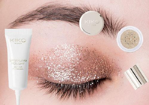 Набор для макияжа: рассыпчатый глиттер для лица и фиксирующий гель Sparkling Holiday Glitter Kit, Kiko Milano