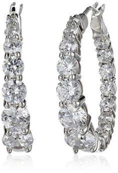 Platinum-Plated Sterling Silver Swarovski Earrings  -  ON SALE