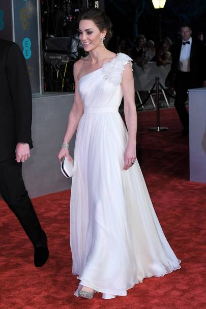Kate Middleton, just arrived at the BAFTAs in a princess-like white gown