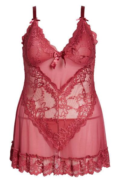 Oh La La Cheri Valentine Soft Cup Babydoll Chemise & G-String Thong ($49; nordstrom.com)