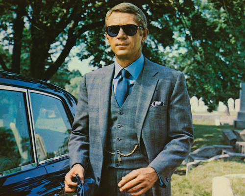 """Steve McQueen wears Persols with custom blue-tinted lenses in 1968's """"The Thomas Crown Affair."""""""