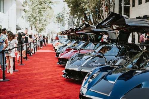Paganis on display at the Miami Design District Concours