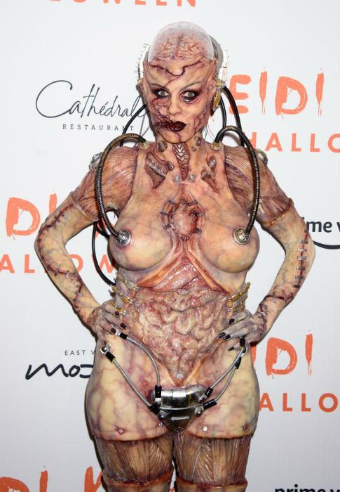 Heidi Klum Outdid Herself With A Horrifying Humanoid-Alien Halloween Costume
