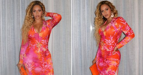 You Gotta Commit to Tropical Prints Like Beyoncé Does in This Pink Dress